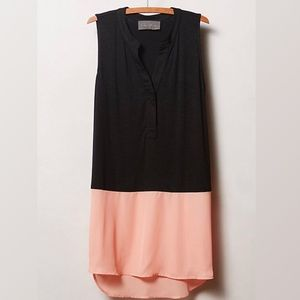 Anthropologie Split-Tone Tunic Black Peach L NWOT